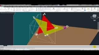 autoCAD 3D Создание линии пересечения  перпендикулярных плоскостей