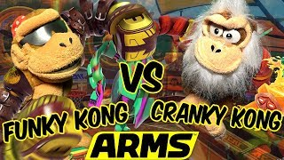 ABM: Funky Kong Vs Cranky Kong !! ARMS Gameplay Match !! ᴴᴰ