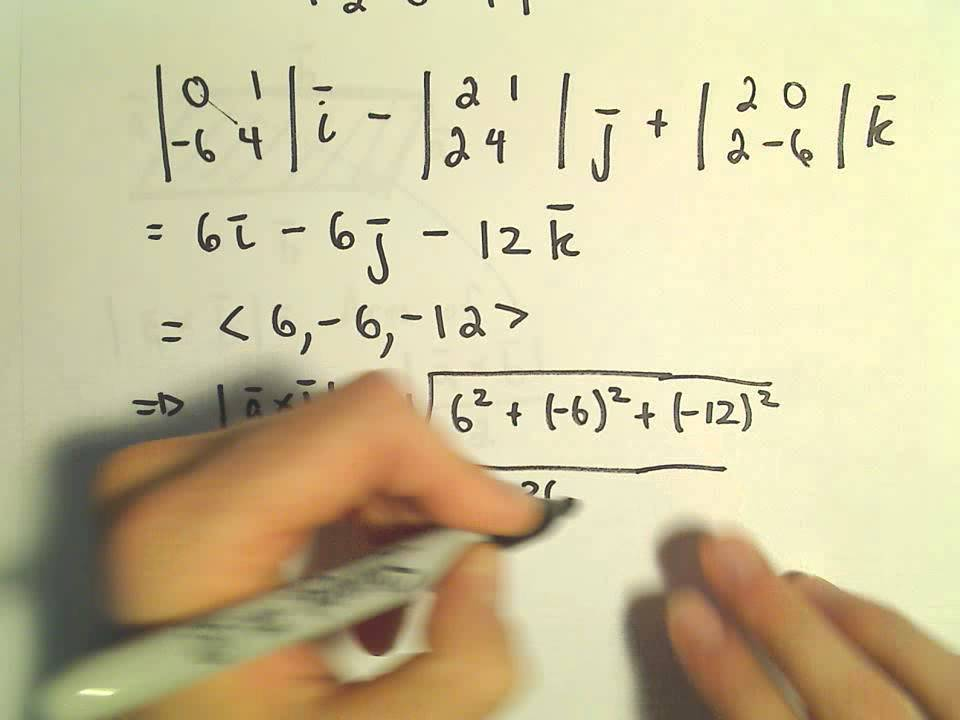 area of triangle formed by two vectors using cross product