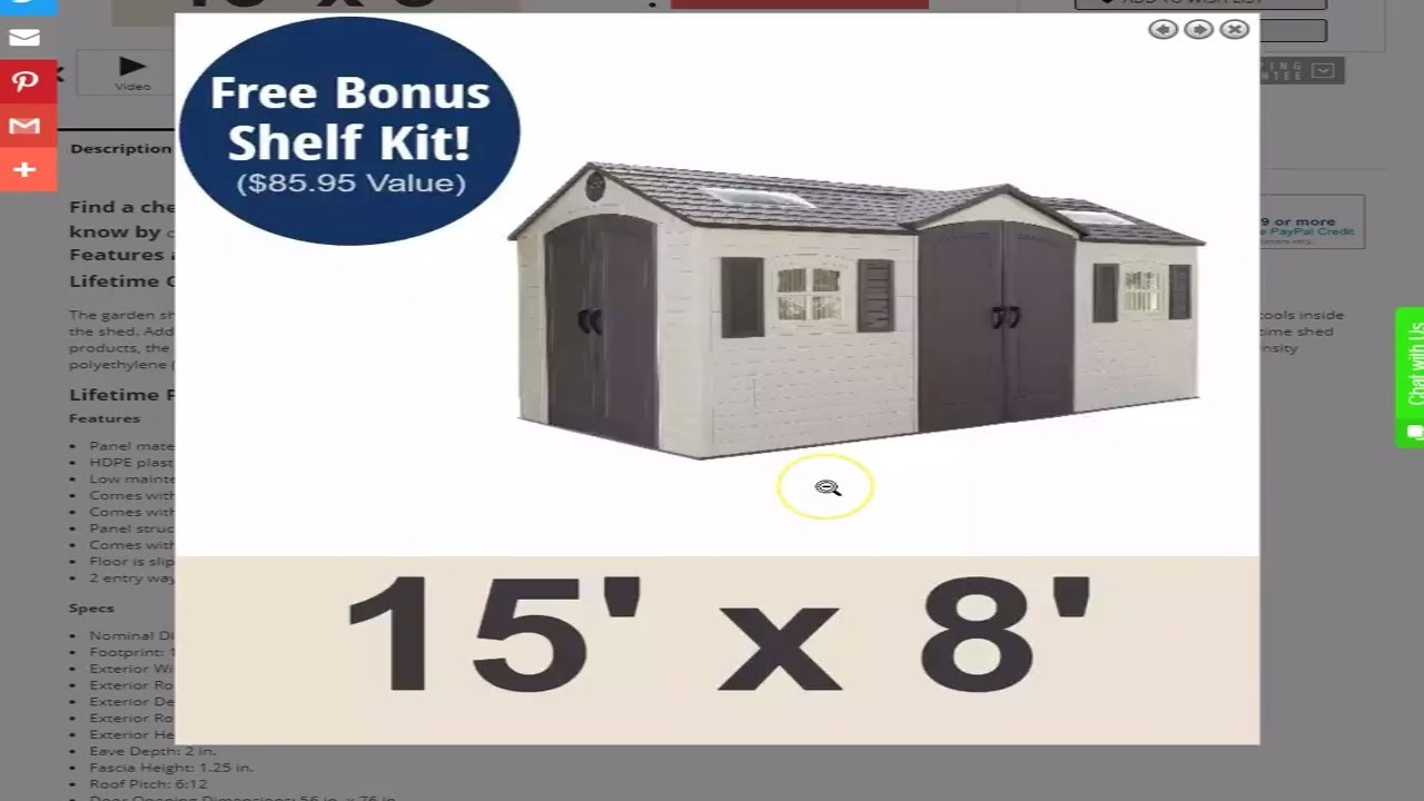 Lifetime Garden Shed 6446 15 x 8 ft  Side-Entry Storage Unit