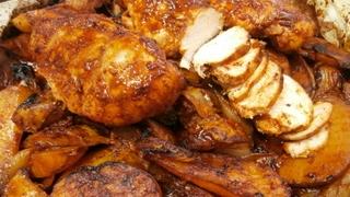 מתכון לחזה עוף בתנור שניתן לפרוס גם קר כמו פסטרמה עם רוטב צ'ילי תפוחי אדמה ובצל