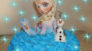 Bolo do Frozen  Elsa com Rosas de Chantilly # Culinária com Angelica mendes