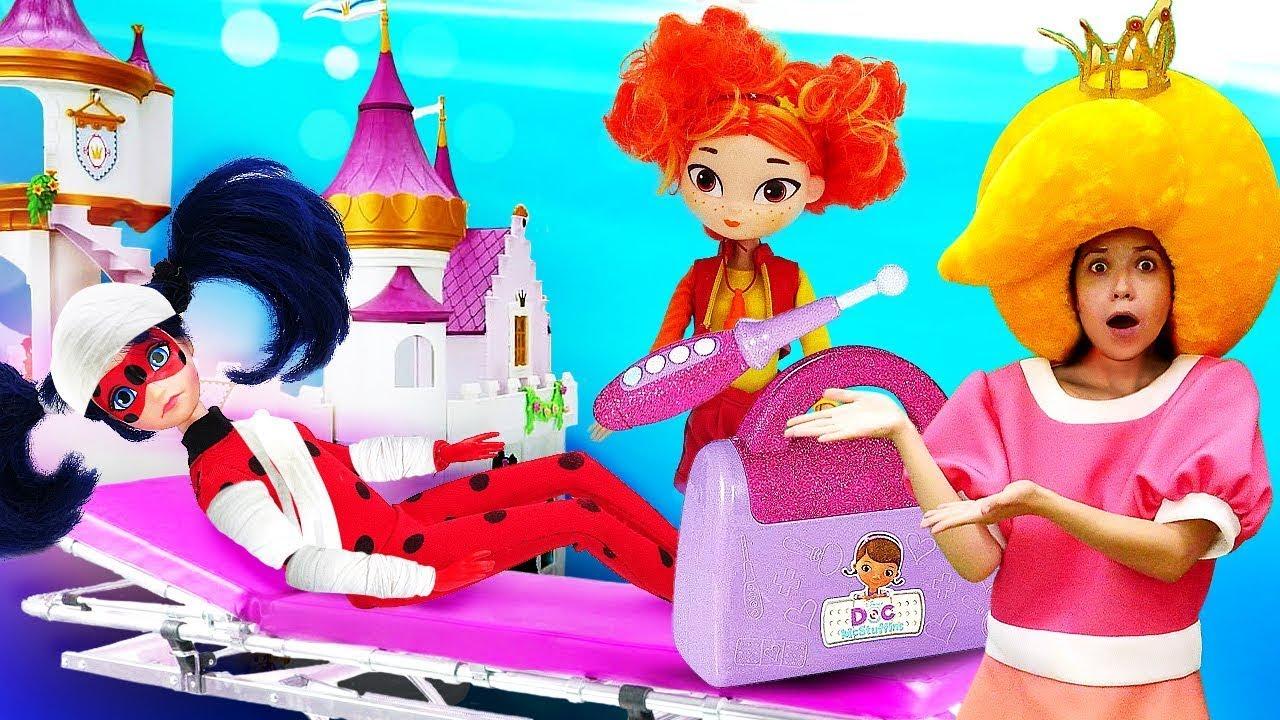 Видео онлайн – Леди БАГ заболела! Кто вылечит куклу? - Новые игры доктор в видео шоу Принцесса Сина.
