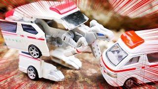 はたらくくるま 救急車が恐竜に変身!? ダイヤロボを紹介するよ♪ 緊急車両 玩具レビュー 幼児 子供向け動画 乗り物 のりもの 開封 TOMICA TOY KIDS VEHICLES