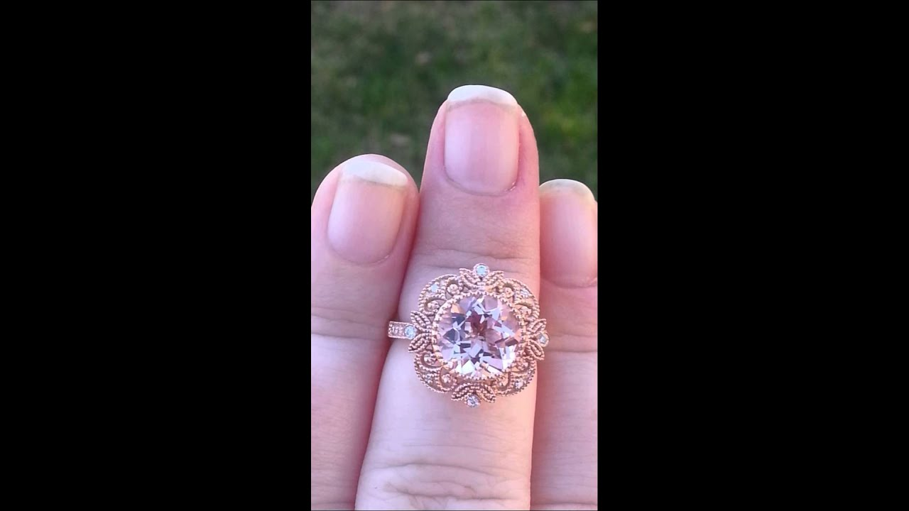 Peachy Pink Morganite in Rose Gold Filigree Engagement Ring