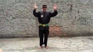 Guru Besar Beksi Seroja H. Hasbulla Bang Pancanur memberikan salah satu gerak dasar dari silat Beksi