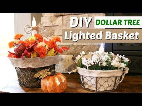 DIY Dollar Tree Fall Basket | DIY Lighted Fall Decor | Farmhouse Basket DIY | KraftsbyKatelyn