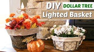 DIY Dollar Tree Fall Basket | DIY Lighted Fall Decor | Farmhouse Basket DIY | KraftsbyKatelyn