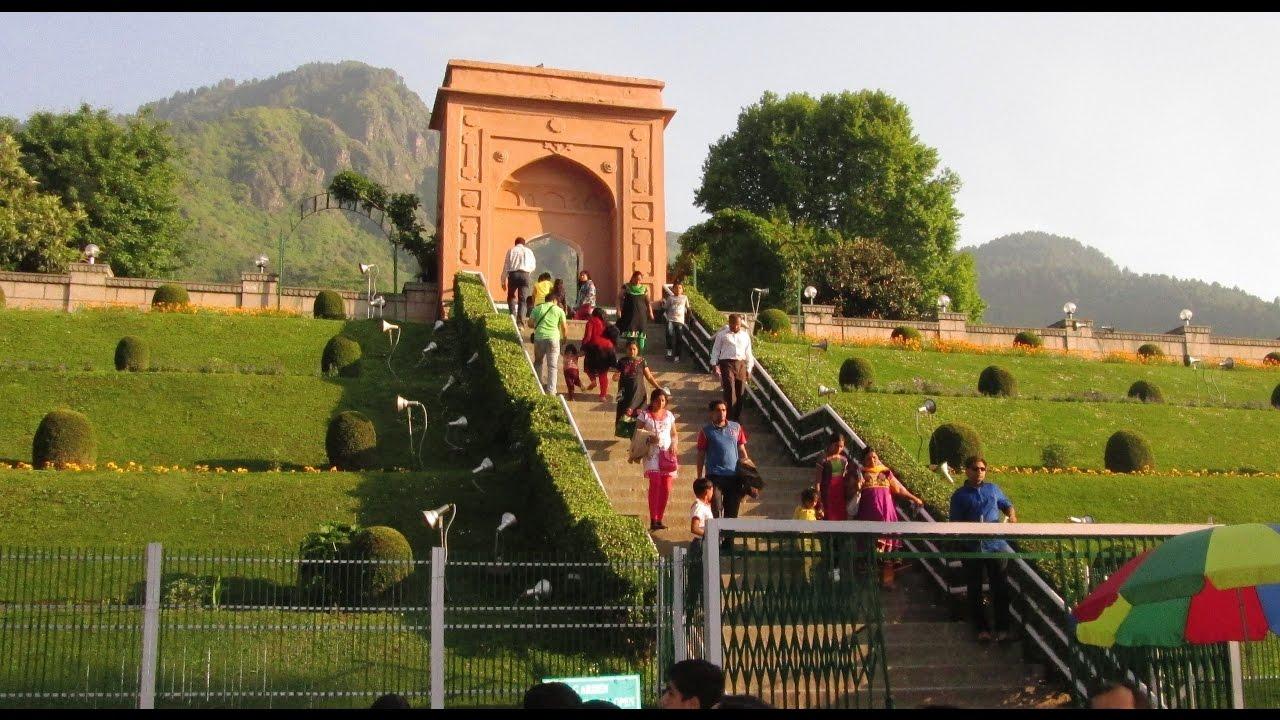 Chashme shahi beautiful mughal garden at srinagar india kashmir tourism hd video