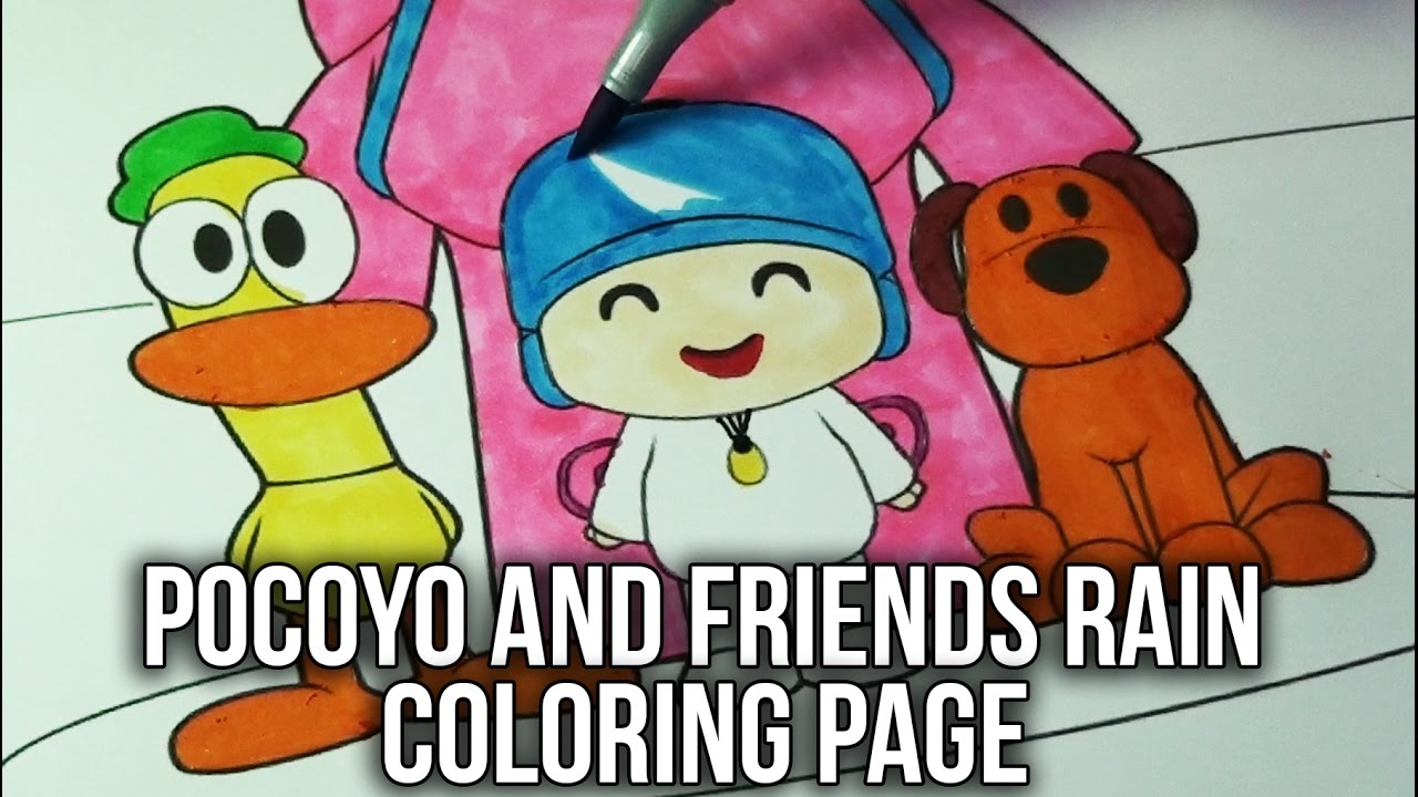 Pocoyo Coloring Book | Pocoyo and Friends in the Rain Speed Coloring Page  For Kids