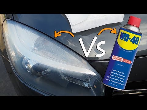 Clean hazzy headlight glass with WD40