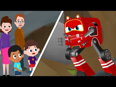 Red Supercar Baby Rikki vs Big Landslide | Kids Cartoon Songs & Rhymes