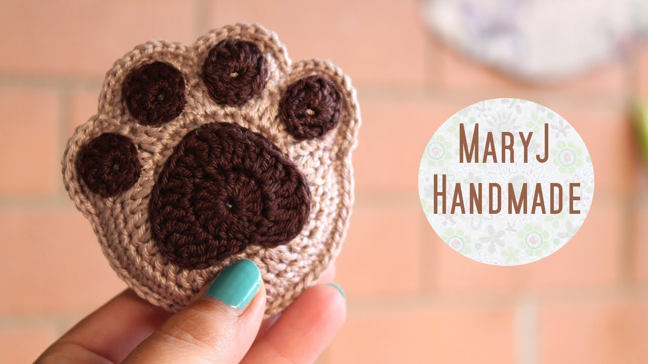 Free Crochet Pattern For Paw Print : How to crochet a supercute paw print - YouTube