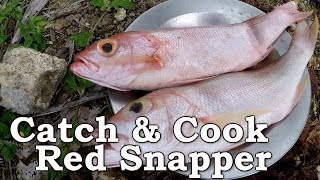 HAND-LINE FISHING RED SNAPPER! | Cooking Over Open Fire in The Dominican Republic