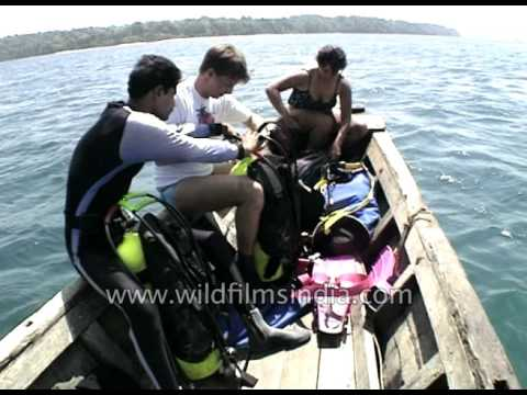 Tourists go for scuba diving in Andaman and Nicobar Islands