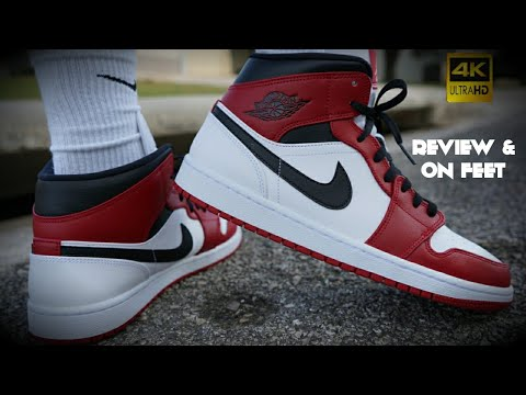 Air Jordan 1 Mid Chicago White Heel Review On Feet Youtube