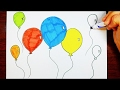 Drawing Balloons For Kids | Learn Colors Red, Blue, Yellow, Green, Orange, Purple, Pink