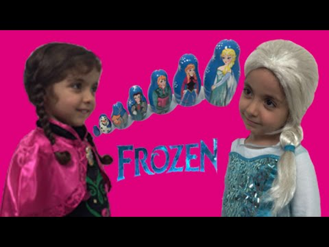 Видео: Frozen Elsa And Anna In Real Life Opening Russian Dolls Eggs  Kinder Egg  Olaf  Kristoff Toys
