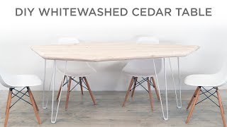 How to Whitewash Cedar and make a Modern Dining Table