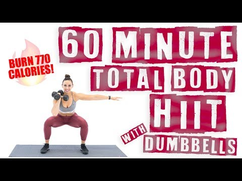 60 Minute Total Body HIIT Workout With Dumbbells 🔥Burn 770 C
