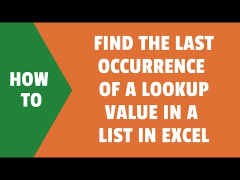Find the Last Occurrence of a Lookup Value a List in Excel