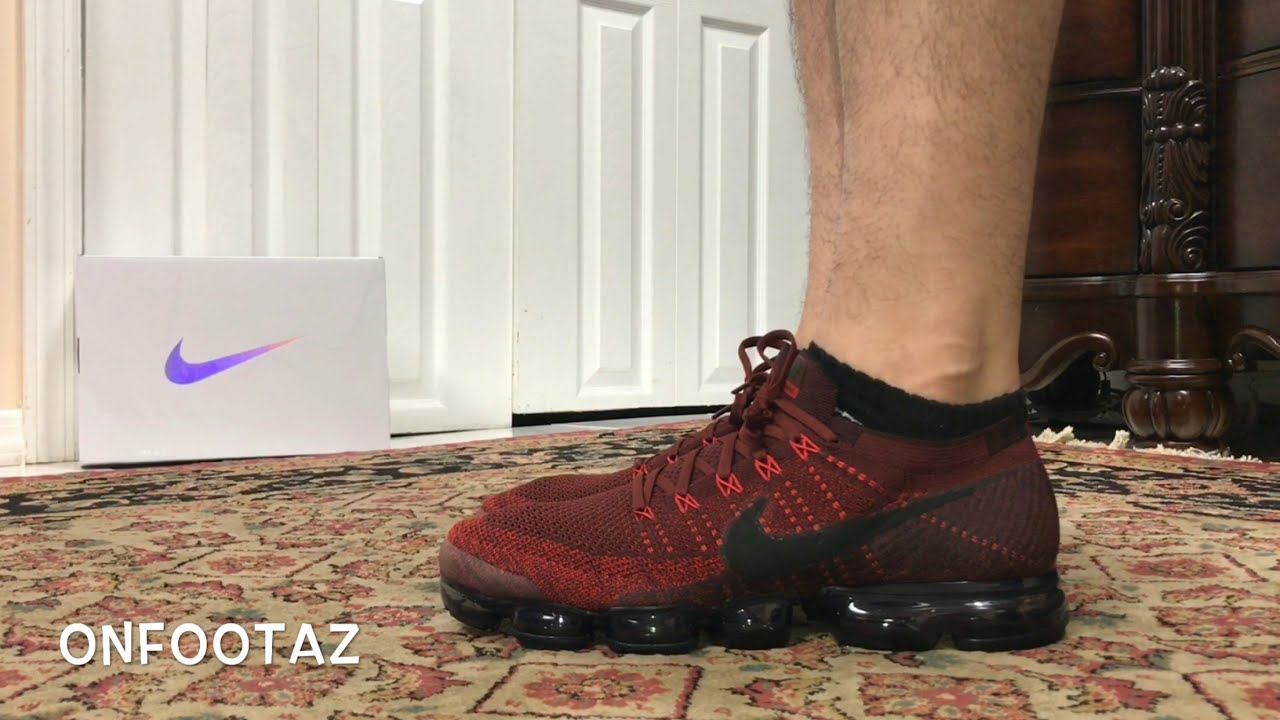 fa042e236d95 Nike Air VaporMax Deep Team Red On Foot - YouTube