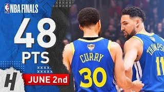 Steph Curry & Klay Thompson Game 2 Highlights Warriors vs Raptors 2019 NBA Finals - 48 Pts Combined!