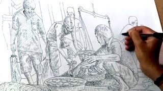 """Drawing """"Fish market"""" With Ballpoint Pen 