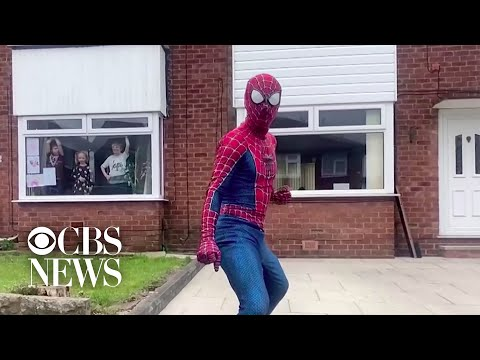 Martial arts teacher dresses up as Spider-Man to entertain children stuck indoors