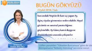 TERAZİ Burcu, GÜNLÜK Astroloji Yorumu,2 EYLÜL 2014, Astrolog DEMET BALTACI Bilinç Okulu