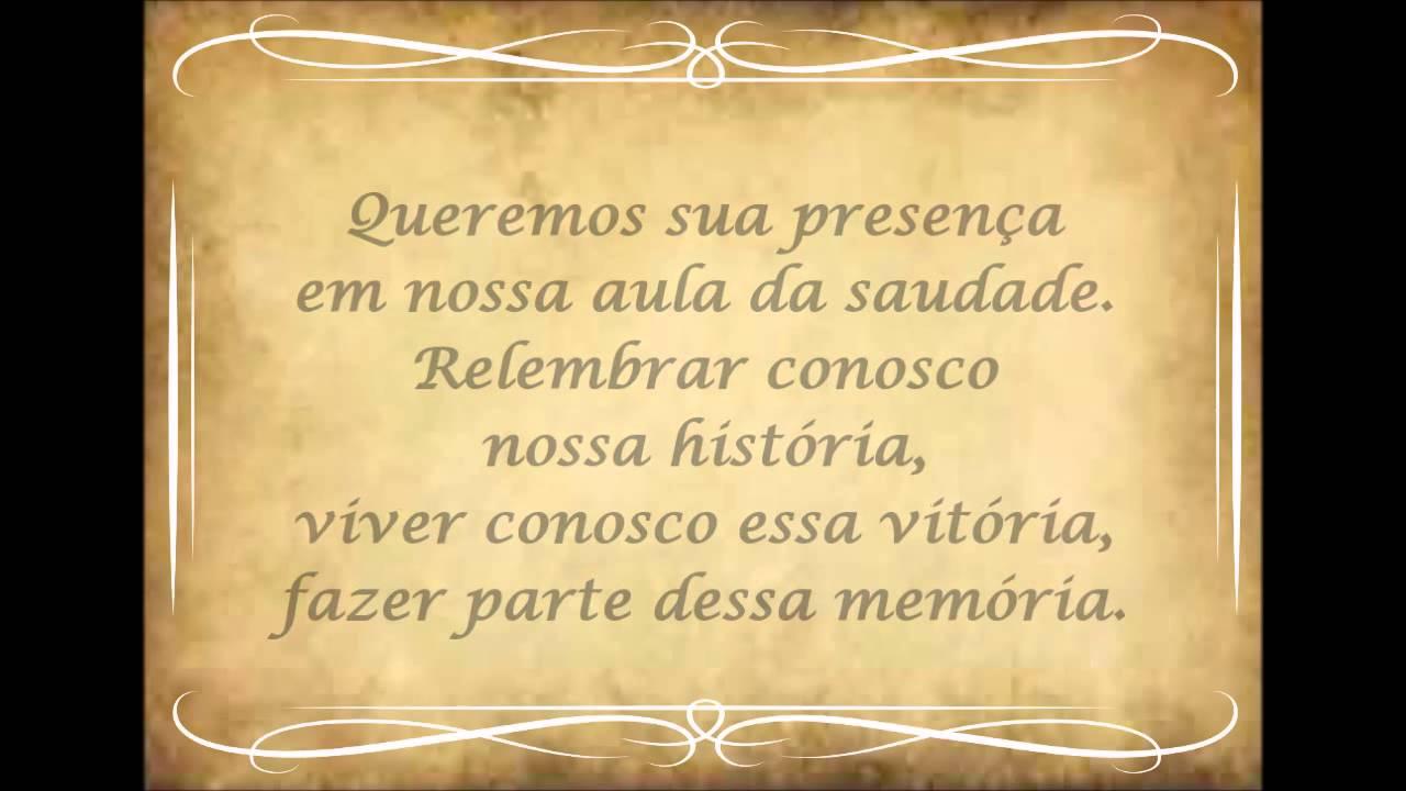 Mensagem De Saudades Da Amiga: Convite Aula Da Saudade