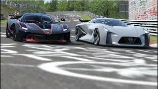 Nissan Concept 2020 Vision GT vs Ferrari FXX-K at Nordschleife