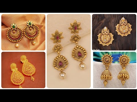 Outstanding And Latest Designer Gold Earrings Designs 22k Gold Drop Earrings Collection