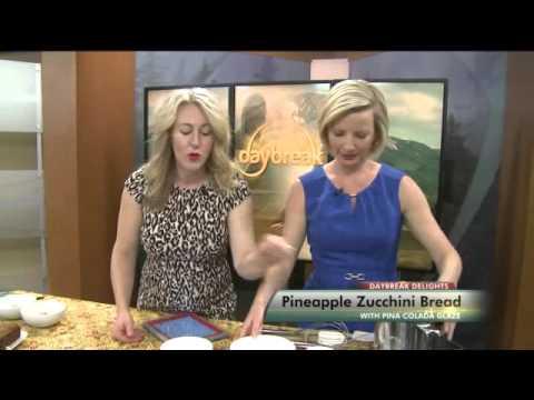Daybreak Delights Pineapple Zucchini Bread with Pina Colada glaze
