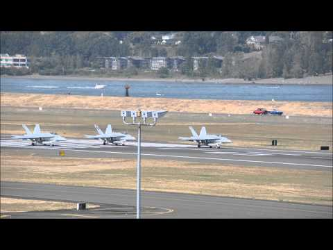 3 Marine Fighter Attack Squadron 323 F/A-18 Hornets takeoff at Portland International Airport {PDX}