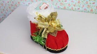 Como Fazer Uma Bota de Papai Noel de Feltro e Garrafa Pet