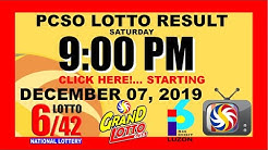 LOTTO RESULT TODAY  (PCSO) [9pm] (December 7, 2019 Saturday) Swertres, 3D | Ez2, 2D | STL