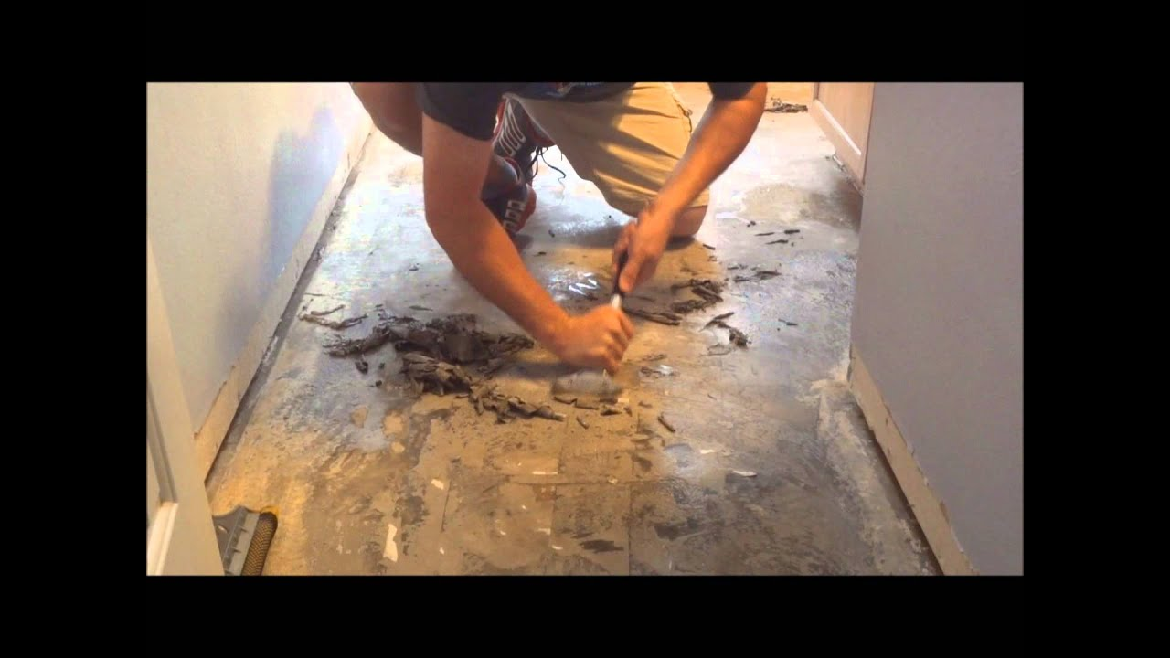 Removing linoleum flooring glue from concrete floor youtube doublecrazyfo Image collections