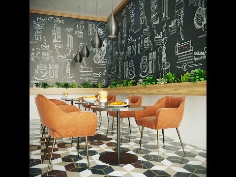 coffee shop design Modeling Tutorial in 3ds max + corona render