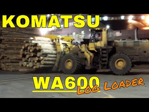 KOMATSU WA600 Log Loader Working In A Export Log Yard
