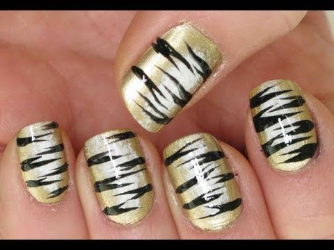 Tiger Stripes - Nail Art Tutorial - YouTube