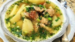 КАРТОФЕЛЬНЫЙ СУП -СОУС С МЯСОМ. Любимый суп мужчин.(Potato Soup With Meat Russian style)