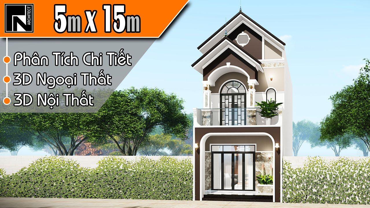 Mẫu nhà ống 2 tầng mái thái đẹp nhất 2020 | 3 phòng ngủ 5x15m | TNA107 | Kiến trúc TN