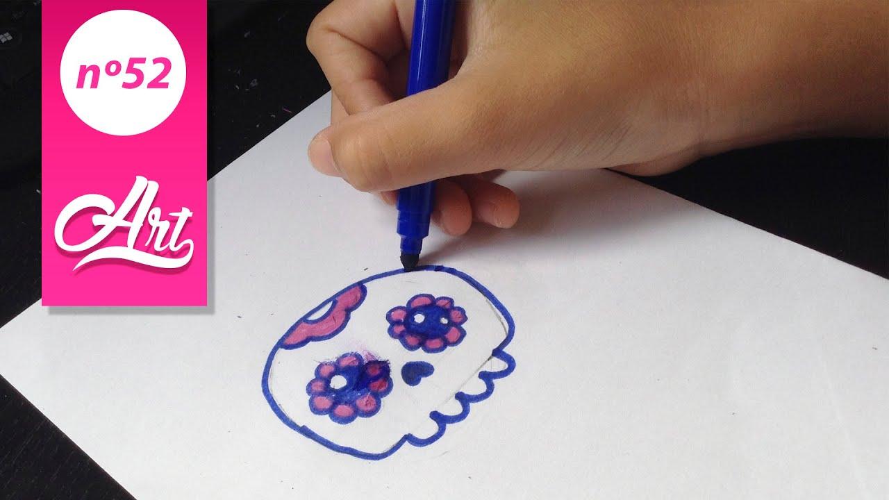 Como dibujar una calavera kawaii | Videos dibujando - YouTube