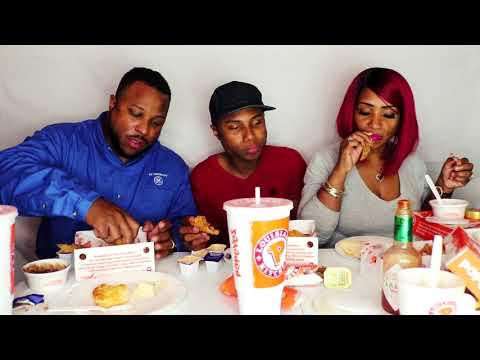 Popeye's Chicken Family Mukbang. Fried Chicken, Shrimp, and Tenders