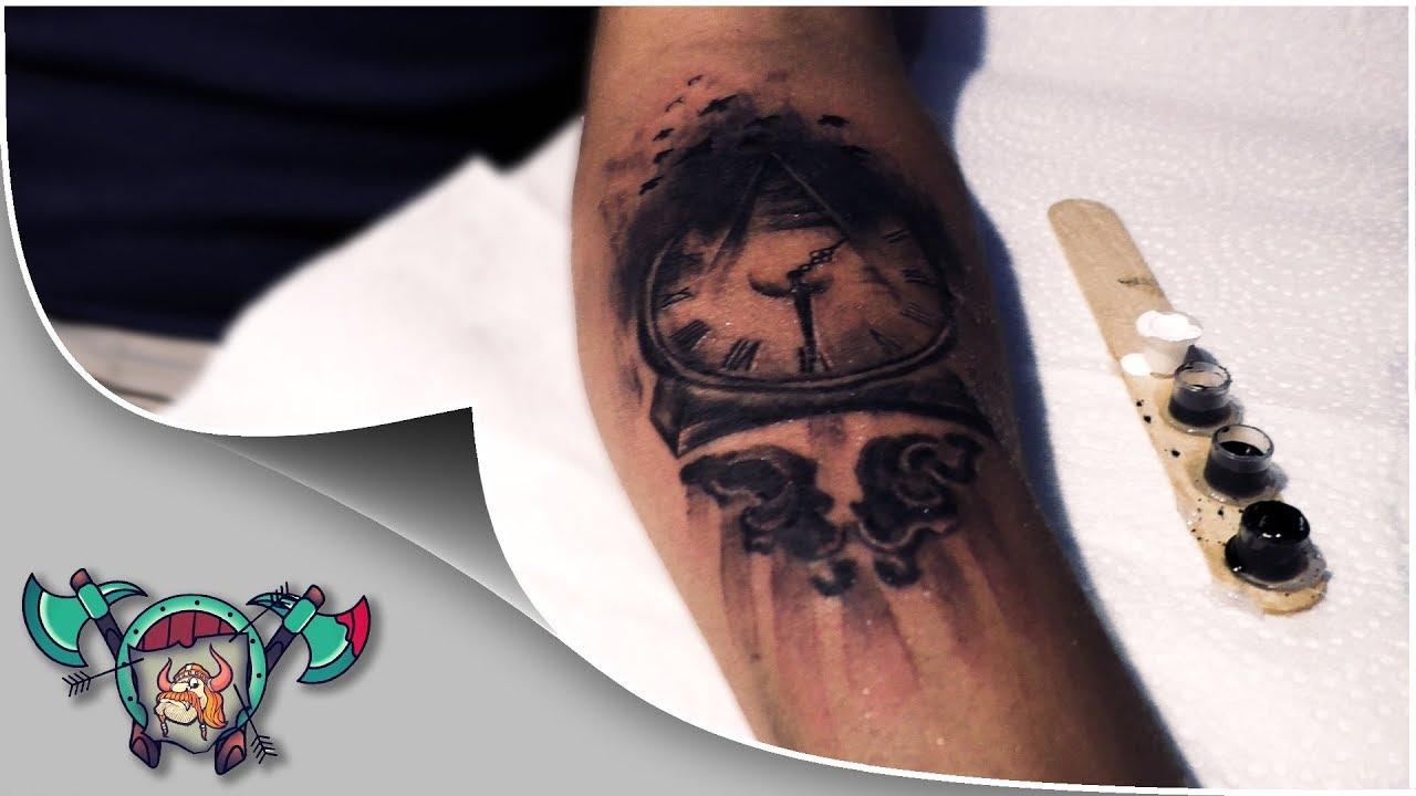 Pyramid Clock Illuminati Tattoo Timelapse