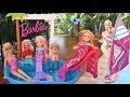 Pool Fun! Elsa & Anna Toddlers Big Barbie Pool Party! Chelsea Mermaid Toys Dolls Windsurfing Slide