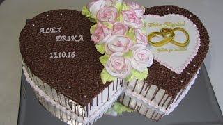 """Торт """"Два свадебных сердца"""""""