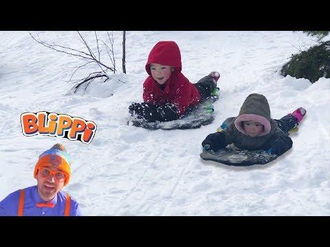 Blippi Winter Outdoor Activities for Children Inspired | SNOW Sledding