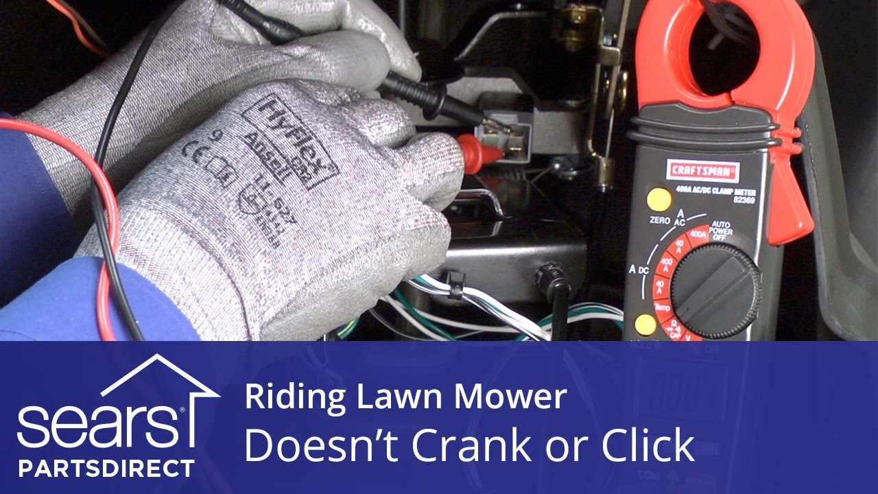 Riding lawn mower engine won't turn over or click video ... on
